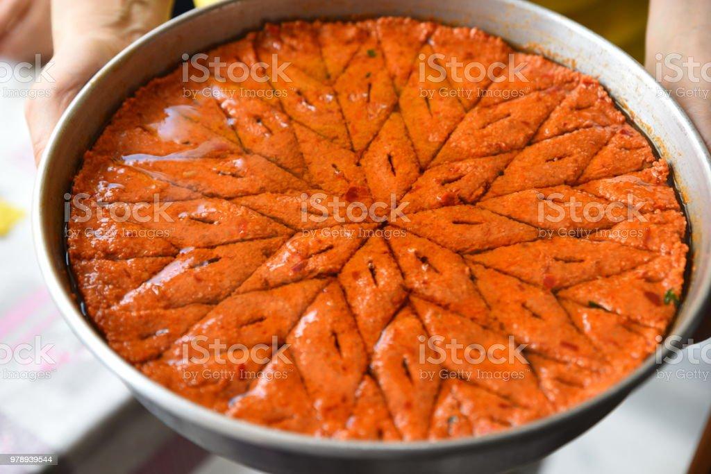 Arabic meat appetizer kibbeh stock photo