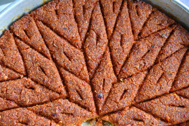 Arabic meat appetizer kibbeh stock photo