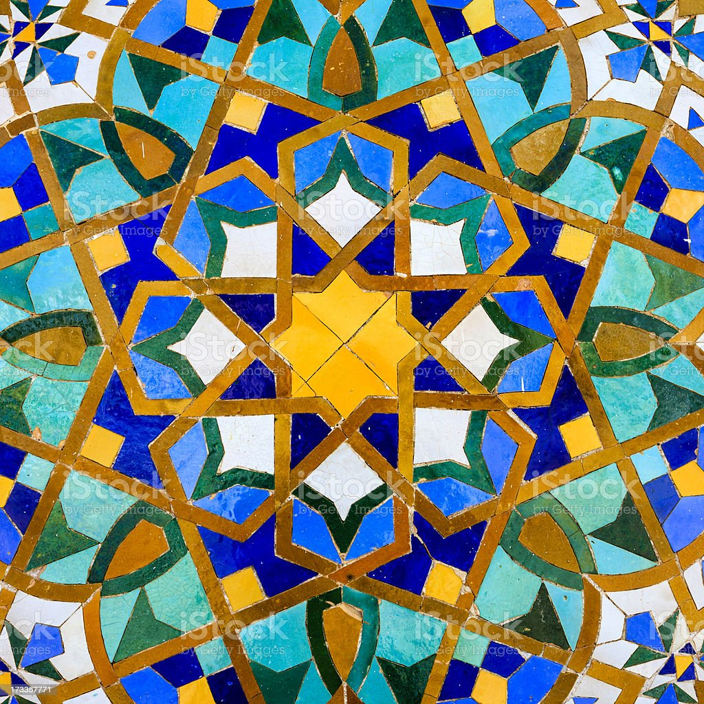 Arabic mosaic in The Hassan II Mosque, Casablanca, Morocco stock photo