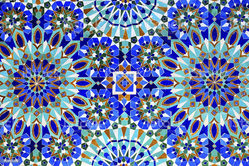 Arabic mosaic in The Hassan II Mosque, Casablanca, Morocco royalty-free stock photo
