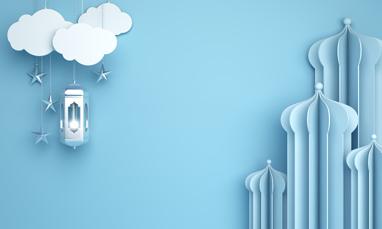 1142326460 istock photo Arabic mosque paper cut, hanging lamp on blue pastel background. 1166786831