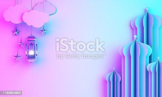 istock Arabic mosque paper cut, lantern, cloud on blue pink violet gradient background. 1163854602