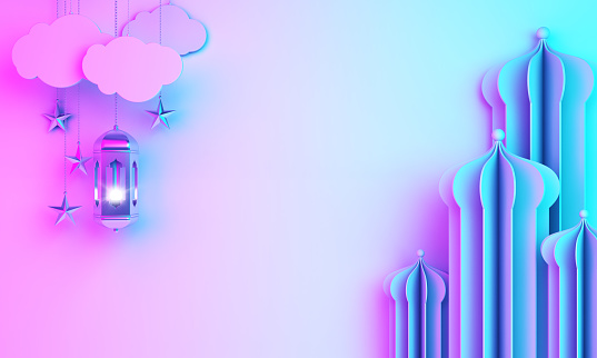 istock Arabic mosque paper cut, lantern, cloud on blue pink violet gradient background. 1163854602