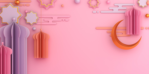 1142531551 istock photo Arabic mosque paper cut, star ornament, lantern, crescent on pink   pastel background. Design concept of islamic celebration day ramadan kareem or eid al fitr adha, copy space text, 3D illustration. 1219487271