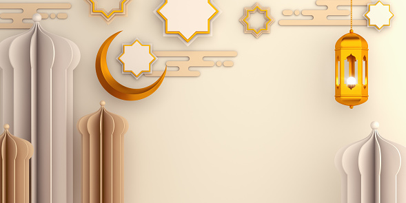1130047135 istock photo Arabic mosque paper cut, star ornament, lantern, crescent on white beige background. Design concept of islamic celebration day ramadan kareem or eid al fitr adha, copy space text, 3D illustration. 1218559335