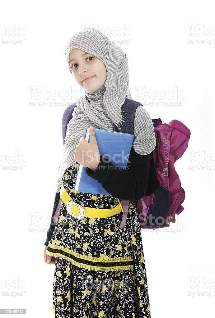 Arabic Muslim girls wearing Islamic clothes stock photo