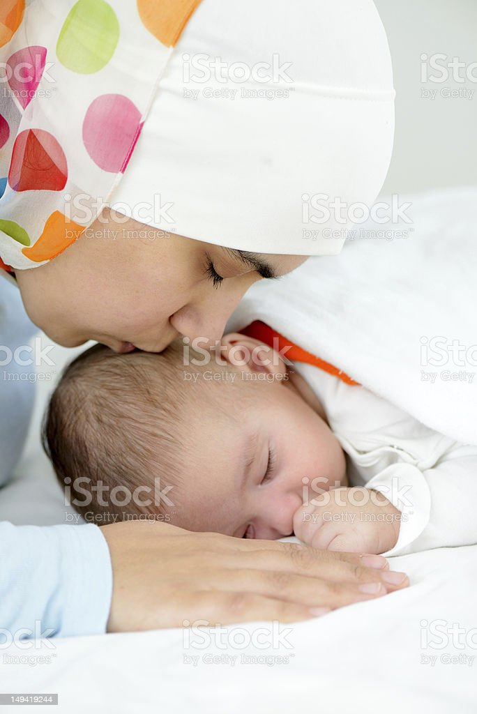 Arabic Muslim Mother With Her Little Newborn Baby Stock Photo Download Image Now Istock