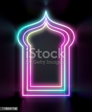istock Arabic neon light window. Design creative concept for islamic celebration day ramadan kareem or eid al fitr adha. 1130047130