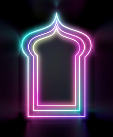 istock Arabic neon light window. Design creative concept for islamic celebration day ramadan kareem or eid al fitr adha. 1130047130