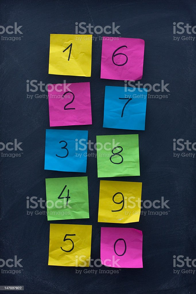 arabic numerals on colorful sticky notes and blackboard royalty-free stock photo