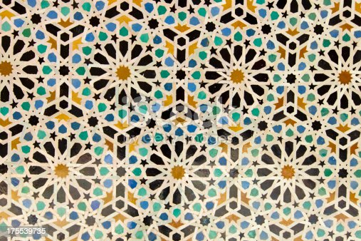 istock Arabic painted tiles texture 175539735