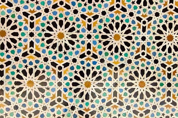 arabische handbemalten fliesen textur - arabeske stock-fotos und bilder
