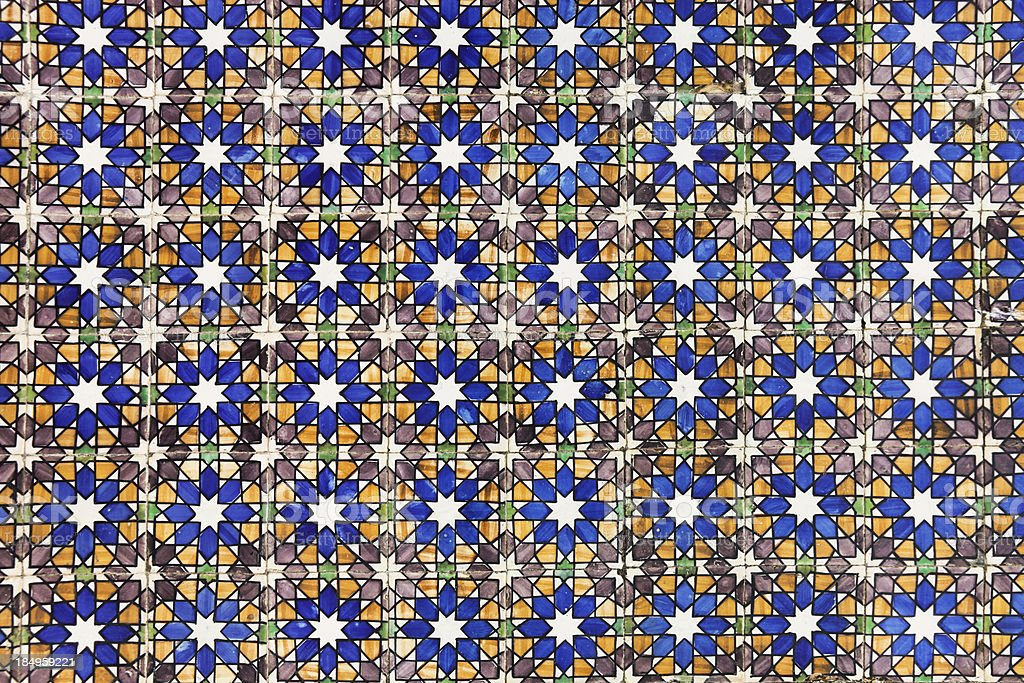Arabic painted tiles texture stock photo