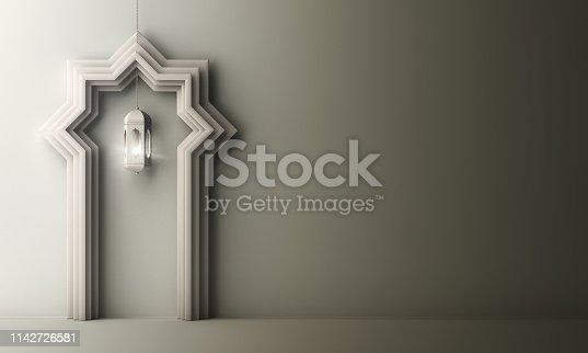 1130047135istockphoto Arabic paper cut window door and hanging lamp on white gray gradient background. 1142726581