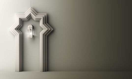 1130047135 istock photo Arabic paper cut window door and hanging lamp on white gray gradient background. 1142726581