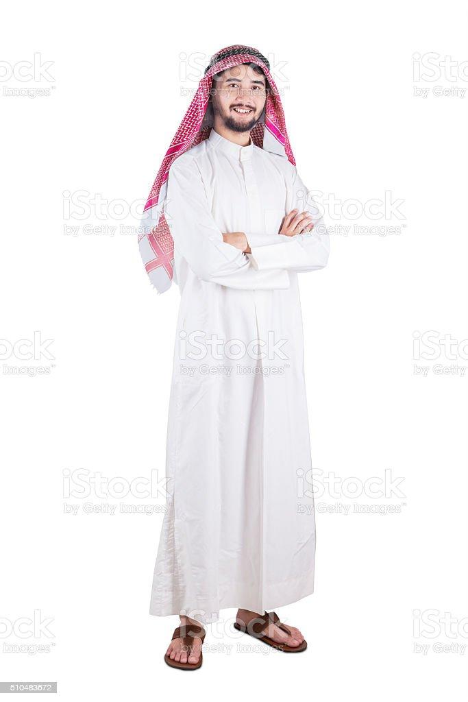 Arabic person standing in studio stock photo