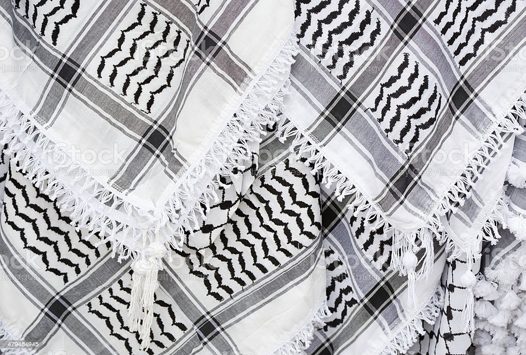 Arabic scarf, keffiyeh texture background stock photo