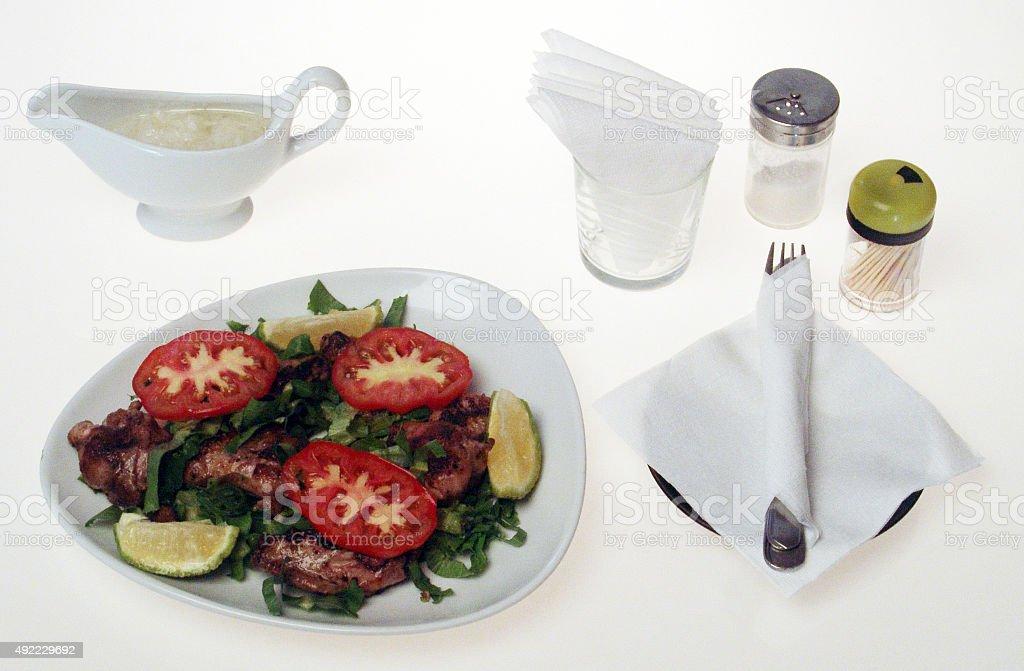 Arabic serving on white stock photo