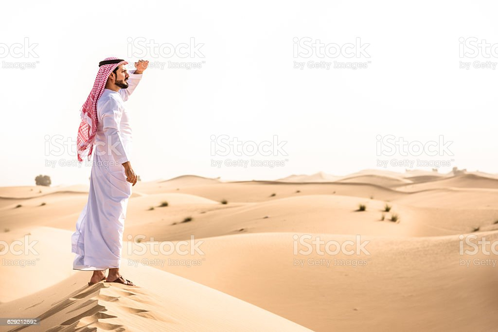 arabic sheik on the desert look forward stock photo