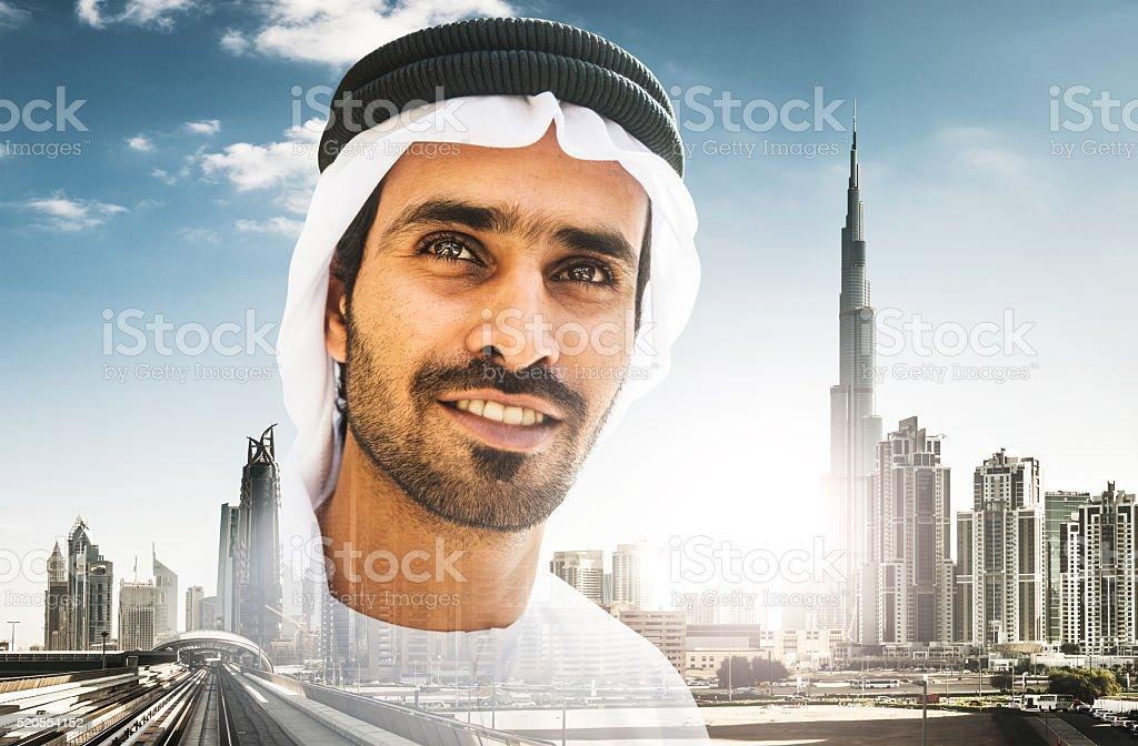 Fotografía de Árabe Sheik Retrato De La Ciudad De Dubai y más banco ...