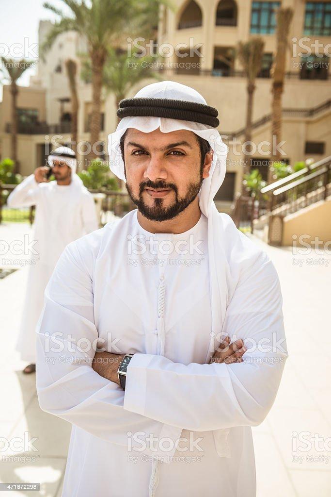 arabic sheik portrait standing on the city stock photo