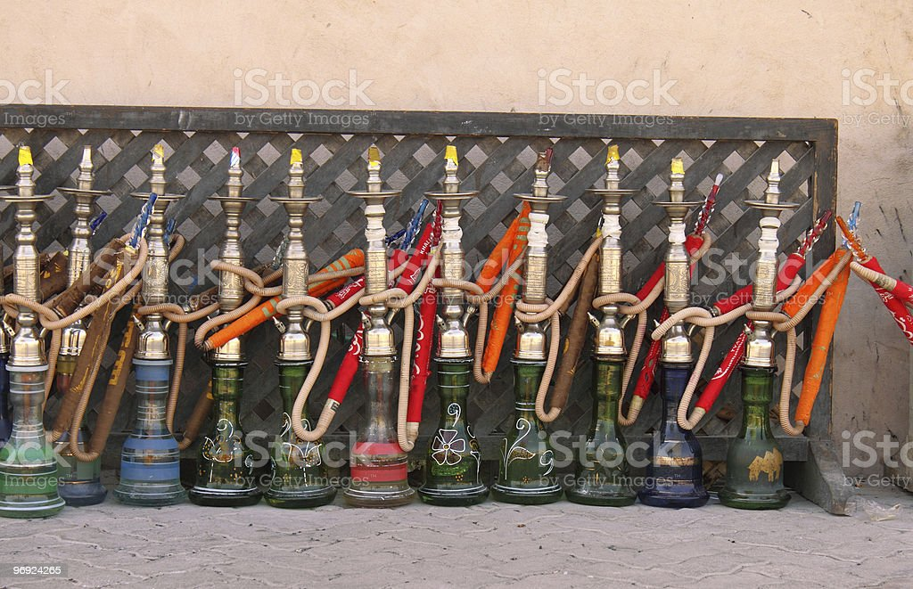 arabic smoking pipes in a row royalty-free stock photo