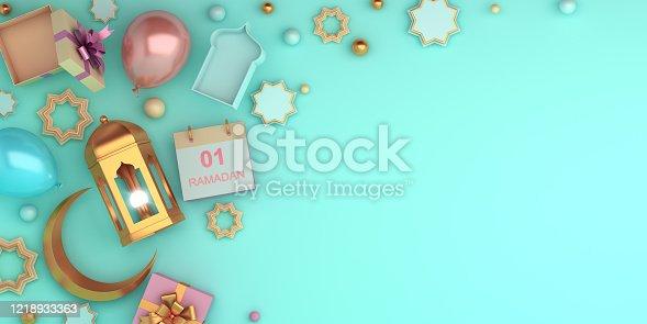 istock Arabic star ornament, lantern, crescent, balloon, gift box on blue pastel background. Design concept of islamic celebration day ramadan kareem or eid ul fitr adha, copy space, 3D illustration. 1218933363