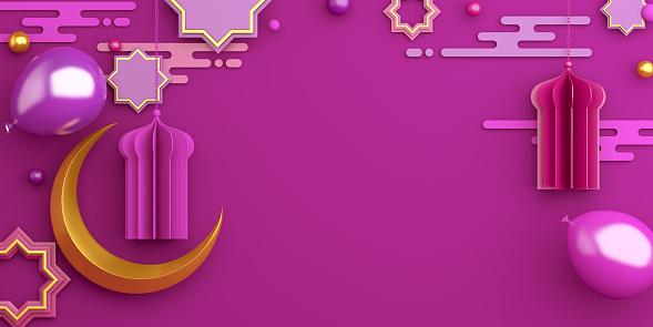1130047135 istock photo Arabic star ornament, lantern, crescent, balloon, gift box on purple violet background. Design concept of islamic celebration day ramadan kareem or eid al fitr adha, copy space, 3D illustration. 1218933362