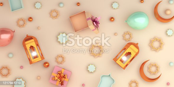 istock Arabic star ornament, lantern, crescent, balloon, gift box on white beige background. Design concept of islamic celebration day ramadan kareem or eid al fitr adha, copy space, 3D illustration. 1217941210
