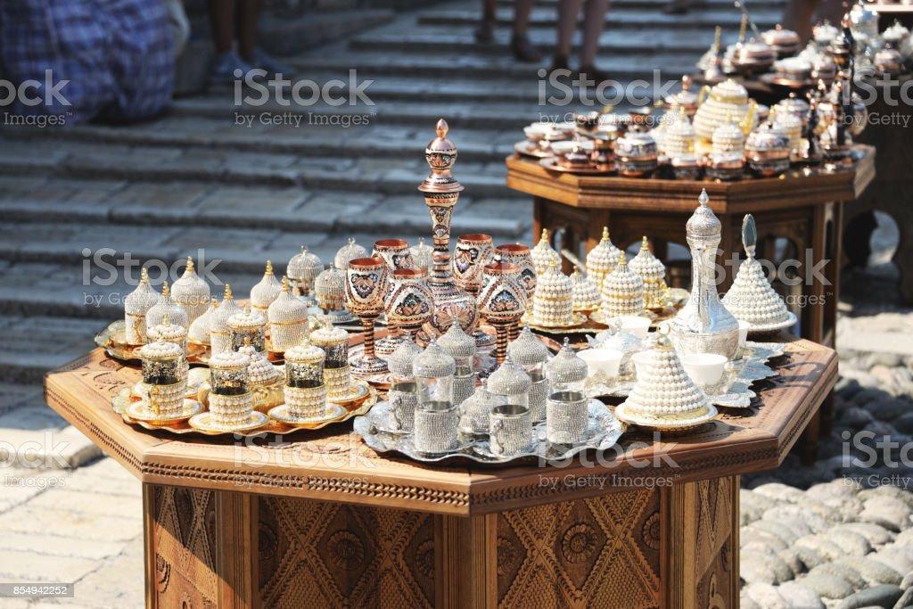 Arabic style tea sets stock photo