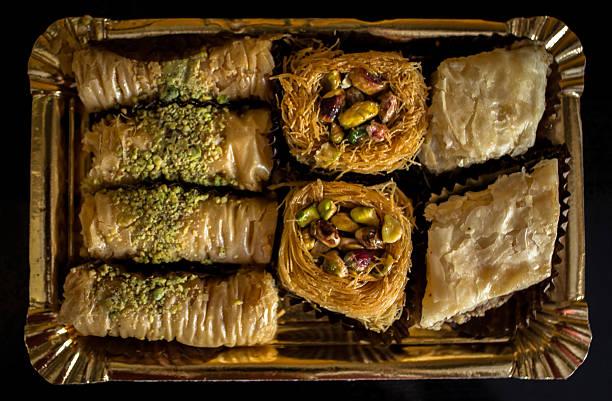 Arabic sweet tray delights stock photo