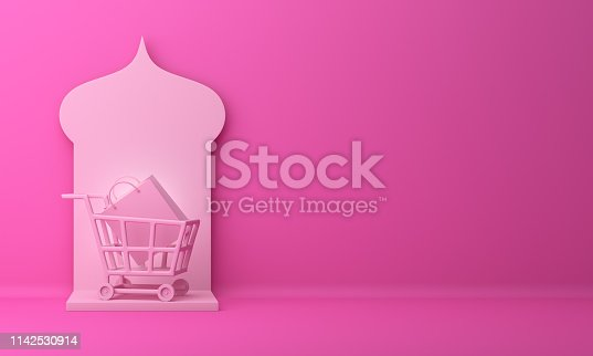 1142531551istockphoto Arabic window, basket trolley cart and shopping bag on pink pastel background. 1142530914
