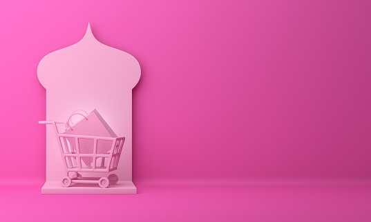 1142531551 istock photo Arabic window, basket trolley cart and shopping bag on pink pastel background. 1142530914