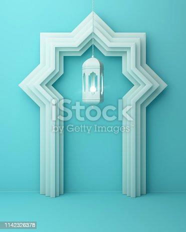 1142326460istockphoto Arabic window door and hanging lamp on blue pastel background. 1142326378