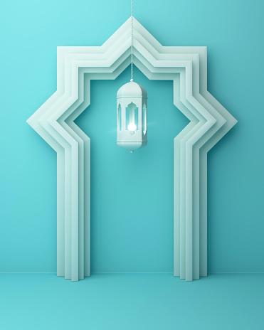 1142326460 istock photo Arabic window door and hanging lamp on blue pastel background. 1142326378