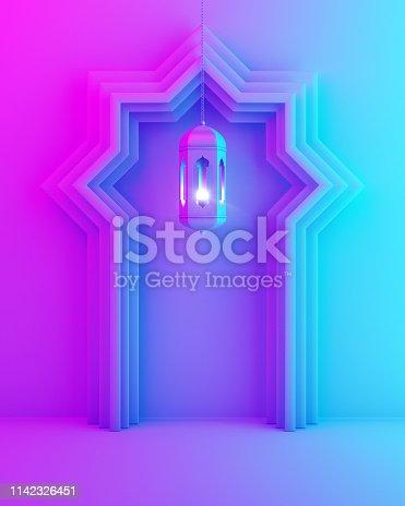 1142326460istockphoto Arabic window door and hanging lamp on blue pink violet gradient background. 1142326451