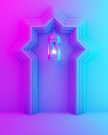 1142326460 istock photo Arabic window door and hanging lamp on blue pink violet gradient background. 1142326451