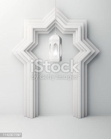 1142530010 istock photo Arabic window door and hanging lamp on white background. 1142327297
