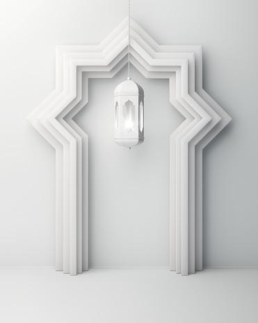 1142326460 istock photo Arabic window door and hanging lamp on white background. 1142327297