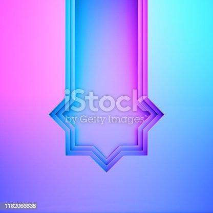1142727715 istock photo Arabic window door on blue pink violet gradient background. Design creative concept of islamic celebration day ramadan kareem or eid al fitr adha. 1162066638