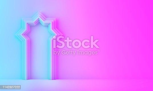1142326460istockphoto Arabic window door on blue pink violet gradient background. 1142327222