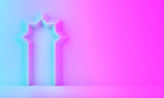 1142326460 istock photo Arabic window door on blue pink violet gradient background. 1142327222