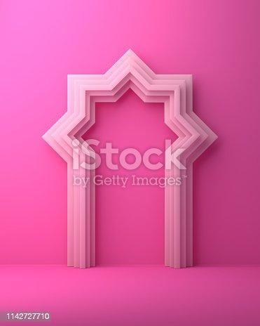 1142727715istockphoto Arabic window door on pink pastel background. 1142727710