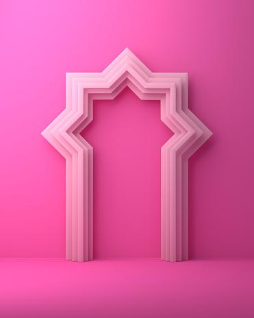 1142326460 istock photo Arabic window door on pink pastel background. 1142727710