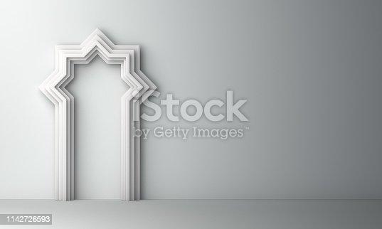 1130047135istockphoto Arabic window door on white background. Design creative concept of islamic celebration day ramadan kareem or eid al fitr adha 1142726593