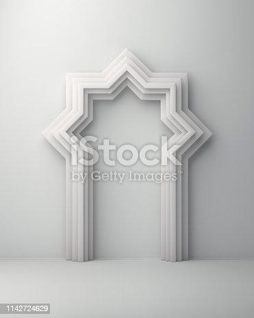 1142727715istockphoto Arabic window door on white background. 1142724629