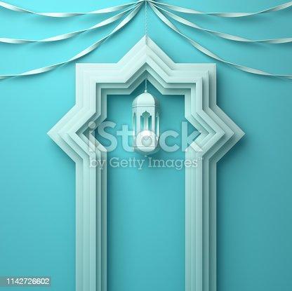 1142326460istockphoto Arabic window door, ribbon and hanging lamp on blue pastel background. 1142726602