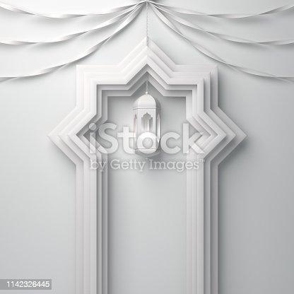 1142326460istockphoto Arabic window door, ribbon and hanging lamp on white background. 1142326445