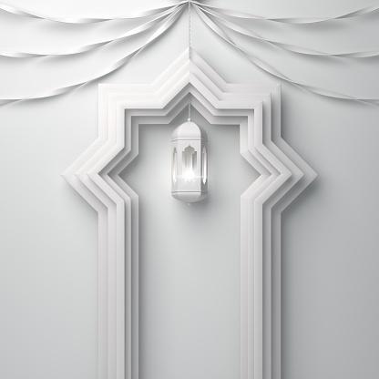 1142326460 istock photo Arabic window door, ribbon and hanging lamp on white background. 1142326445
