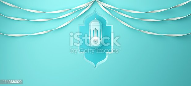 istock Arabic window, hanging lamp and ribbon on blue pastel background. 1142530922